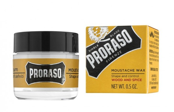 PRORASO Moustache Wax Wood and Spice, 15ml